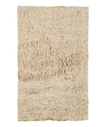 Tan & White Motion Wool-Blend Rug