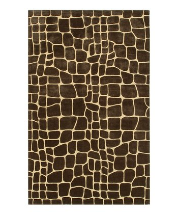 Brown & Gold Crocodile Rug