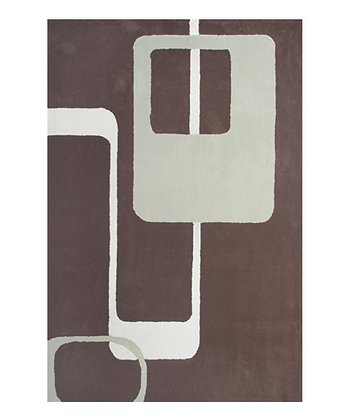 Brown & Off-White Retro Rug