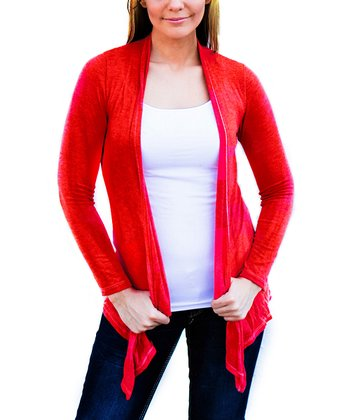 Red Texas Tech Open Cardigan