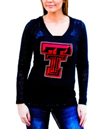 Black Texas Tech Burnout Tee