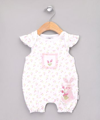 White Bunny Flower Romper