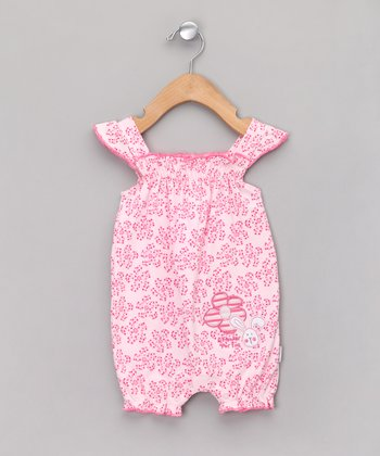 Pink Floral Shirred Bubble Romper