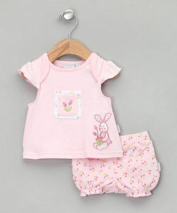 Baby Aardvark Pink Bunny Top & Bloomers