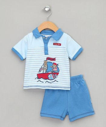 Baby Aardvark Mid-Blue Pirate Bear Polo & Shorts