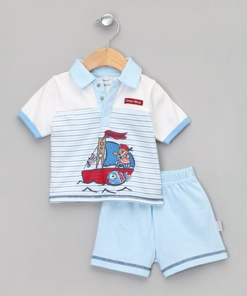 Baby Aardvark Sky Pirate Bear Polo & Shorts
