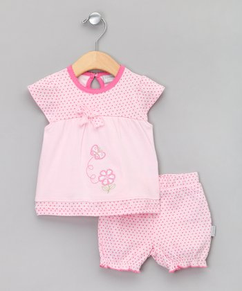 Baby Aardvark Light Pink Butterfly Cap-Sleeve Top & Bloomers