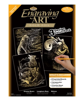 Wild Animals Engraving Art Three-Piece Set