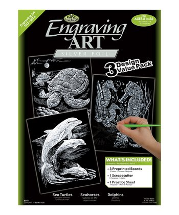 Silver Sea Life Wild Animals Engraving Art Three-Piece Set