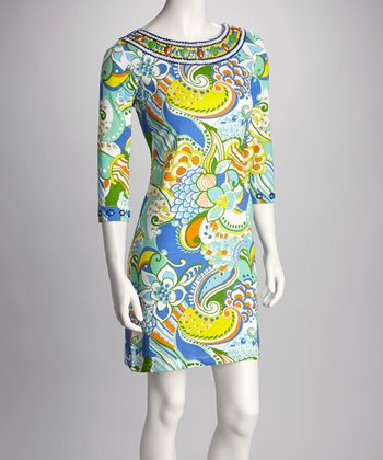 Blue Paisley Beaded Shift Dress