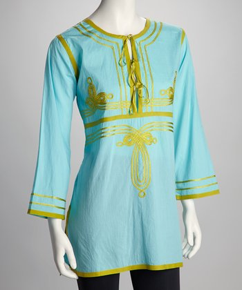 Seafoam & Lime Ribbon Tie Tunic