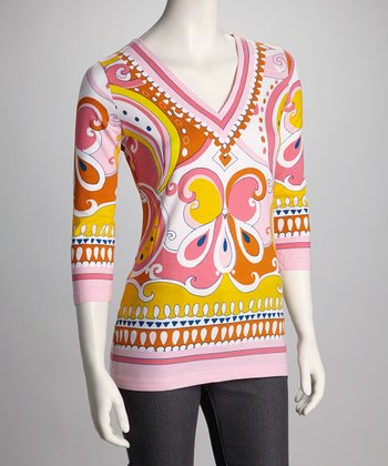 Pink & Orange Exotic V-Neck Top