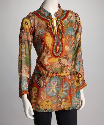 Barbara Gerwit Orange & Blue Tribal Floral Tunic