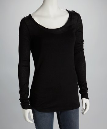 Black Lace-Up Raglan Tee