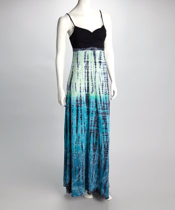 Teal & Black Tie-Dye Maxi Dress