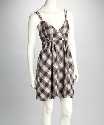 Gray Plaid Empire-Waist Dress
