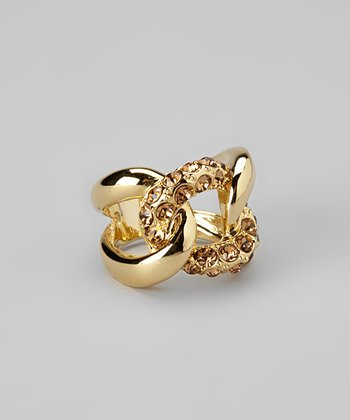 Brown Sparkle & Yellow Gold Knot Ring