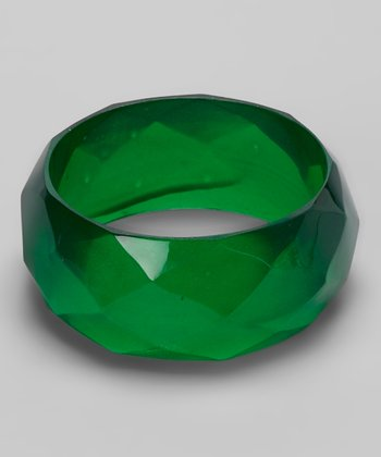 Emerald Green Translucent Faceted Bangle