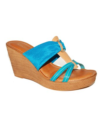 Azul & Tan Wedge Sandal