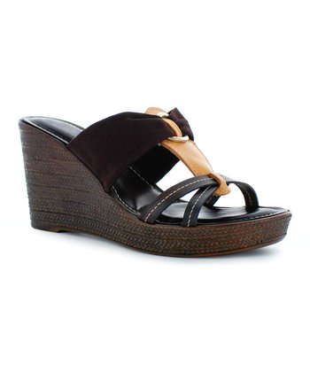Chocolate & Tan Wedge Sandal