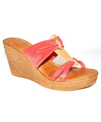 Coral & Tan Wedge Sandal