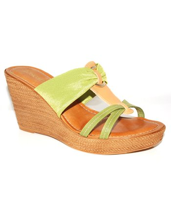 Lime & Tan Wedge Sandal