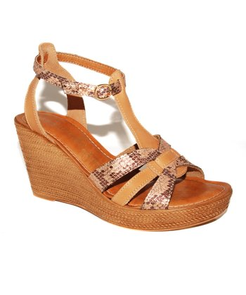 Natural Snakeskin T-Strap Wedge