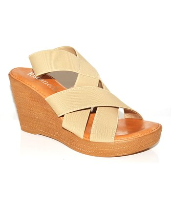 Natural Crisscross Wedge Sandal