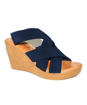 Navy Crisscross Wedge Sandal