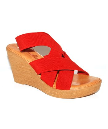 Red Crisscross Wedge Sandal