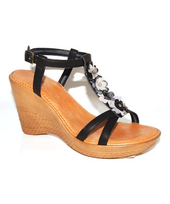 Black Blossom Wedge Sandal