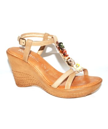Natural Blossom Wedge Sandal