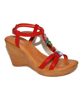 Red Blossom Wedge Sandal
