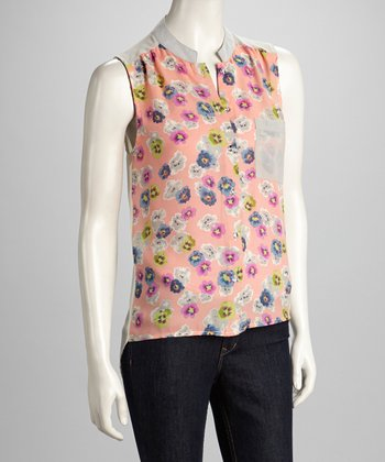 Gray & Pink Floral Hi-Low Sleeveless Top