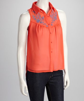 Coral Open-Back Hi-Low Sleeveless Top