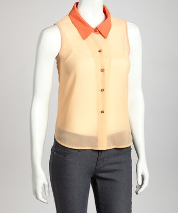 Orange Sheer Button-Up Sleeveless Top