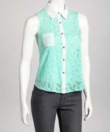 Mint Floral Crisscross Back Sleeveless Top