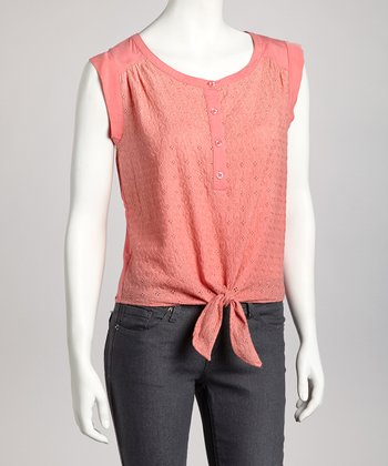 Coral Tie-Front Sleeveless Top