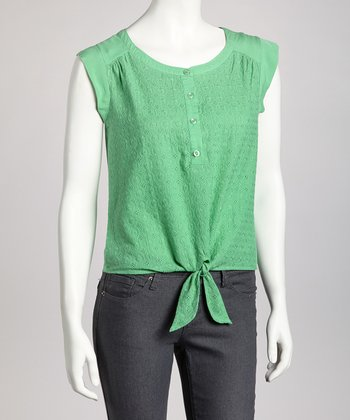 Jade Tie-Front Sleeveless Top