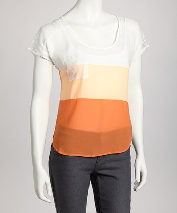 Coral Color Block Sheer Top