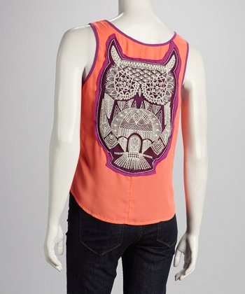 Coral & Purple Owl Tank