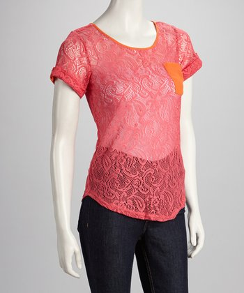 Coral Lace Ladderback Top