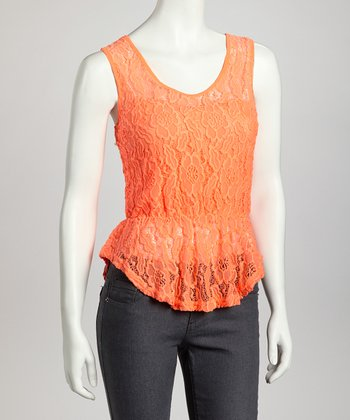 Orange Lace Cinched Tank