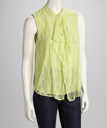 Lime Lace Ruffle Sleeveless Top