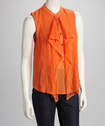 Orange Lace Ruffle Sleeveless Top