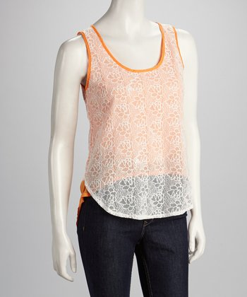 Orange Lace Hi-Low Tank