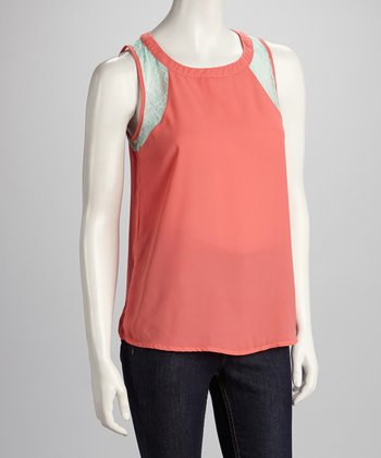 Coral Lace Sleeveless Top