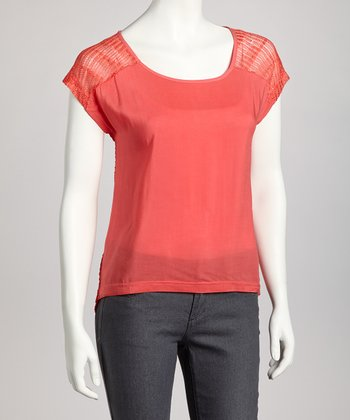 Hot Coral Sheer-Back Top