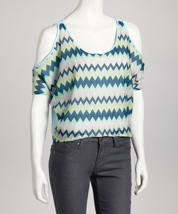 Teal & Taupe Zigzag Cutout Top