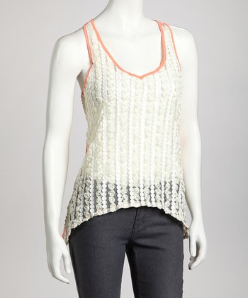 White & Coral Sheer-Back Top